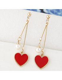 Sweet Red Heart Shape Pendant Decorated Smple Long Earrings