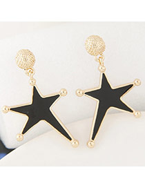 Fashion Black Star Shape Pendant Decorated Simple Earrings