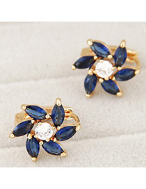 Delicate Blue Oval Shape Diamond Decorated Flower Earrings