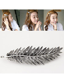 Fashion Silver Color Metal Leaf Decorated Pure Color Design Hair Clip
