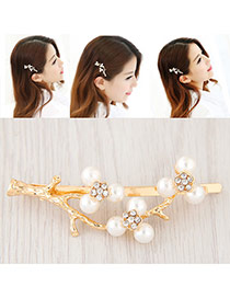Elegant Gold Color Pearl Decorated Branch Design Simple Hair Clip