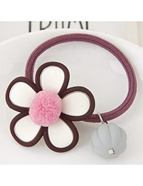 Lovely Claret-red Fuzzy Ball Decorated Flower Design Hair Hoop