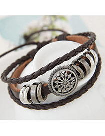 Fashion Black Hollow Out Round Shape Decorated Hand-woven Bracelet