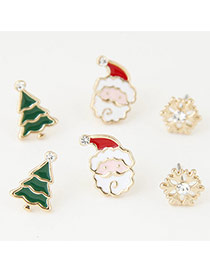 Sweet Green+white Christmas Series Shape Decorated Simple Earring(6pcs)