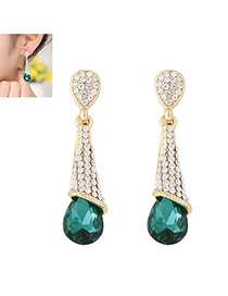 Fashion Green Diamond Decorated Waterdrop Beads Earring