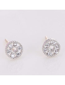 Elegant White Diamond Decorated Hollow Out Round Shape Earring