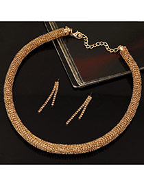 Fashion Champagne Twist Chain Decorated Simple Jewelry Sets