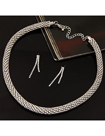 Fashion Silver Color Twist Chain Decorated Simple Jewelry Sets
