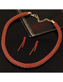 Fashion Red Twist Chain Decorated Simple Jewelry Sets