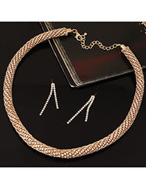 Fashion Gold Color+white Twist Chain Decorated Simple Jewelry Sets