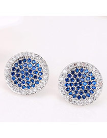 Sweet Sapphire Blue Geometric Diamond Decorated Round Shape Earring