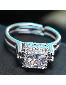 Sweet White Square Diamond Decorated Double Layer Adjustable Ring