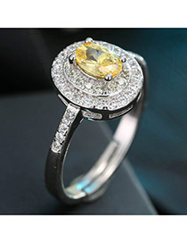 Sweet Yellow Oval Diamond Decorated Simple Adjustable Ring