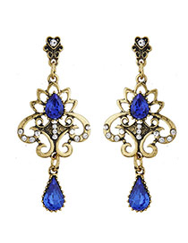 Vintage Sapphire Blue Waterdrop Diamond Decorated Hollow Out Flower Earring