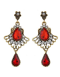Sweet Red Waterdrop Diamond Decorated Hollow Out Flower Earring