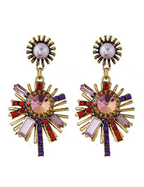 Sweet Multi-color Sunflower Shape Diamond Pendant Decorated Simple Earring