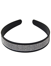 Elegant Black Multilayer Diamond Decorated Pure Color Hair Clasp