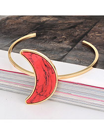 Retro Red Crescent Shape Tophus Decorated Opening Design Alloy Fashion Bangles