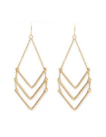 Elegent Gold Color Triangle Shape Decorated Multilayer Design Alloy Korean Earrings