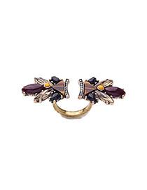 Retro Mult-color Gemstone Shape Decorated Opening Design
