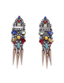Exaggerated Mult-color Rivet Shape Decorated Geometric Design Alloy Stud Earrings