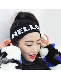 Fashion Black Hello Letter Decorated Hair Band &hair Hoop