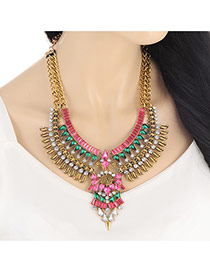 Exaggerate Gold Color+plum Red Geometric Shape Diamond Decorated Multilayer Necklace