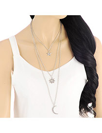 Delicate Silver Color Star&moon Pendant Decorated Multilayer Necklace