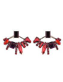 Fashion Red Leaf Decorated Geometric Shape Design Alloy Stud Earrings