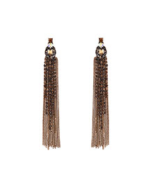 Fashion Yellow Long Tassel Pendant Decorated Simple Design Alloy Stud Earrings