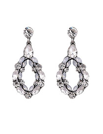 Fashion White Oval Shape Diamond Decorated Double Layer Design Alloy Stud Earrings