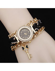 Delicate Black Key Pendant Decorated Watch