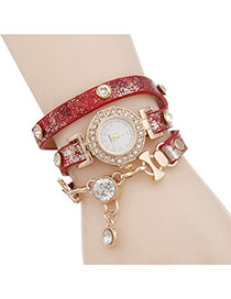 Bohemia Red Double Diamond Pendant Decorated Multilayer Watch