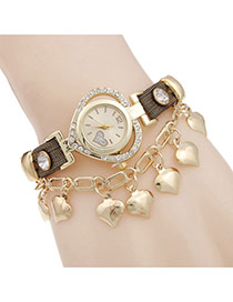 Lovely Yellow Heart Pendant Decorated Rivet Watch