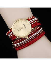 Personality Red Diamond Decorated Double Layer Rivet Watch