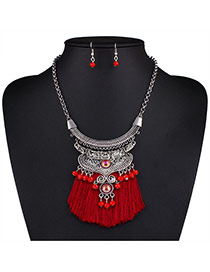 Bohemia Red Bead Decorated Tassel Nacklace Set