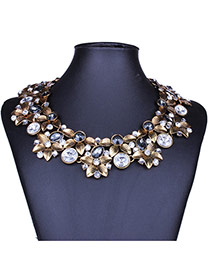 Exaggerate White+black Diamond&flower Decorated Double Layer Collarbone Necklace