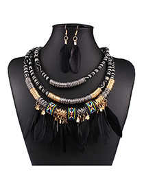 Fashion Black Feather Pendant Decorated Multi-layer Necklace Set