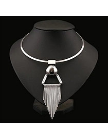 Elegant Silver Color Tassel Pendant Decorated Short Chain Necklace