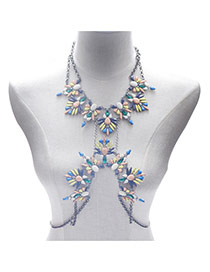 Exaggerate Multi-color Flower Shape Decorated Simple Body Chain