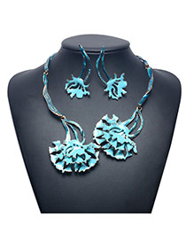 Exaggerate Light Blue Flower Pendant Decorated Jewelry Sets