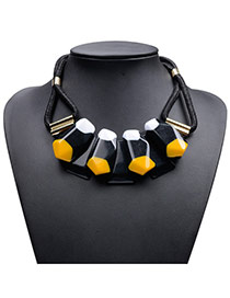 Exaggerate Yellow Big Gemstone Decorated Short Chain Necklace