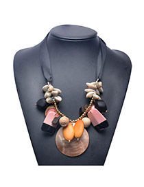 Exaggerate Pink Shellshape Weaving Decorated Short Chain Necklace
