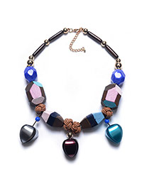 Exaggerate Multi-color Heart Shape Pendant Decorated Short Chain Necklace