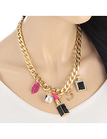 Personality Gold Color Lipstick&pearl Pendant Decorated Simple Necklace