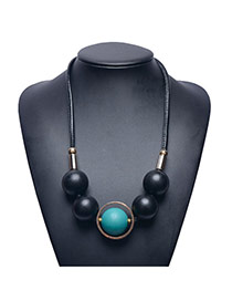 Fashion Green Tellurion Shape Pendant Decorated Leather Chain Necklace