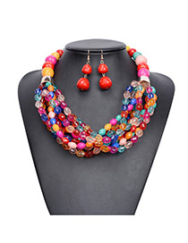 Exaggerate Multi-color Multilayer Beads Hand-woven Decorated Simple Jewelry Sets