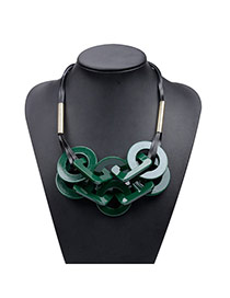 Retro Green Geometric Shape Matching Decorated Short Chain Necklace
