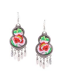 Exaggerated Pink Flower Embroidery Pattern Decorated Tassel 8 Shape Earring