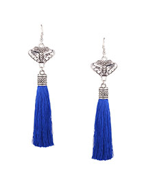 Bohemia Blue Long Tassel Pendant Decorated Simple Earring